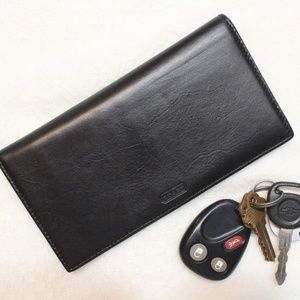 Coach Checkbook Cover Holder Black Leather